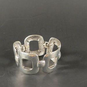 Chico's Open Square Silver Stretch Bracelet